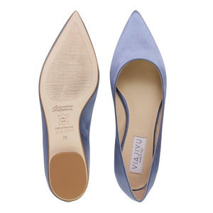 COMO - Satin Periwinkle, VIAJIYU - Women's Hand Made Sustainable Luxury Shoes. Made in Italy. Made to Order.
