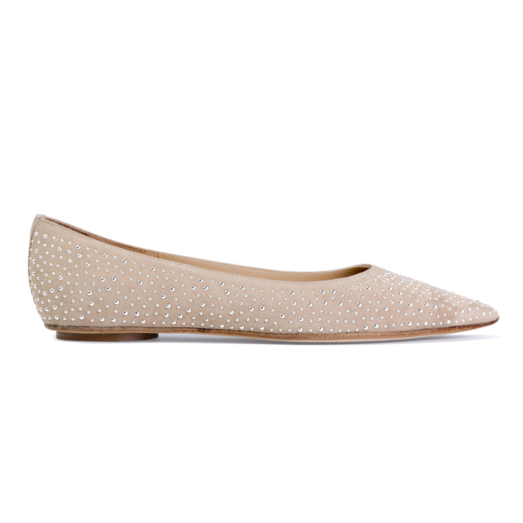 COMO - Velukid Tan + Tiny Silver Studs, VIAJIYU - Women's Hand Made Sustainable Luxury Shoes. Made in Italy. Made to Order.