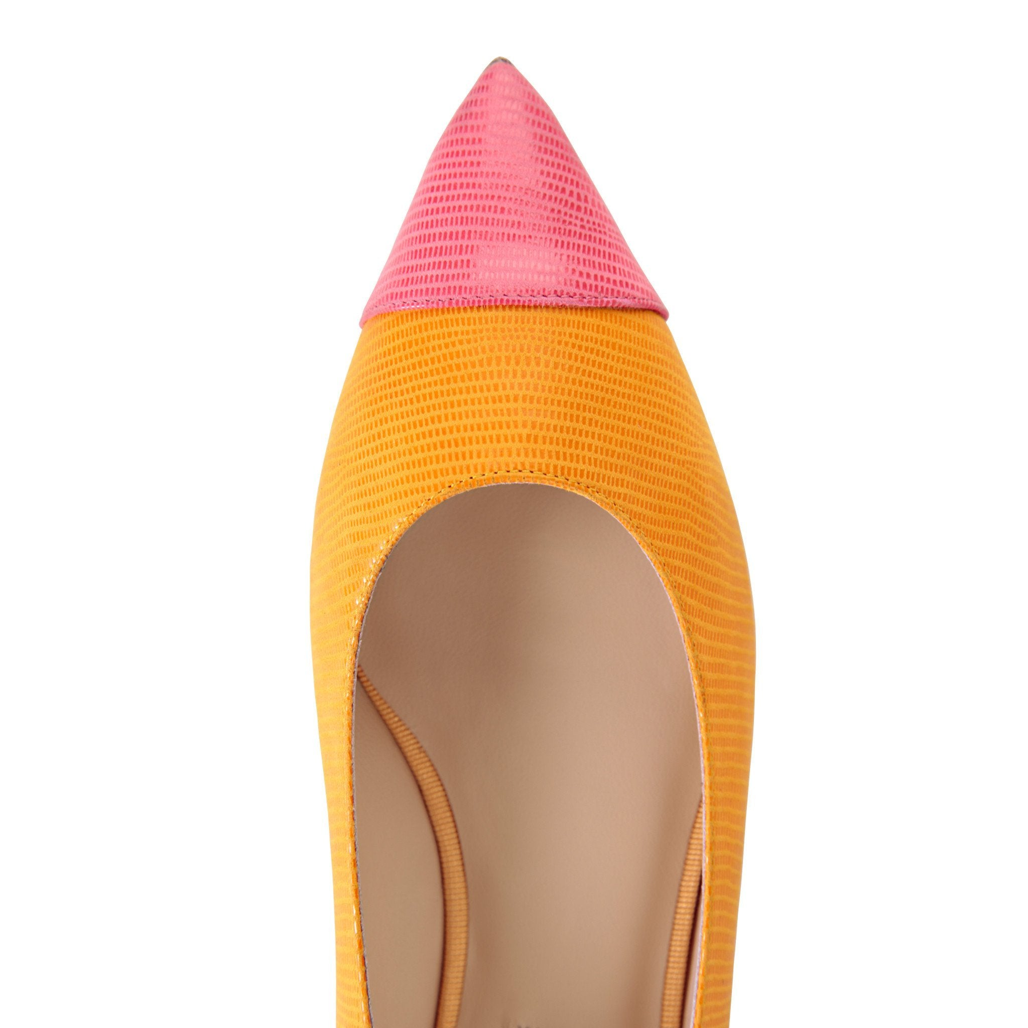 COMO - Varanus Mandarin + Epiphany Pink, VIAJIYU - Women's Hand Made Sustainable Luxury Shoes. Made in Italy. Made to Order.