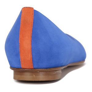 COMO - Velukid Cobalt + Tuscan Sunset Back Stripe, VIAJIYU - Women's Hand Made Sustainable Luxury Shoes. Made in Italy. Made to Order.