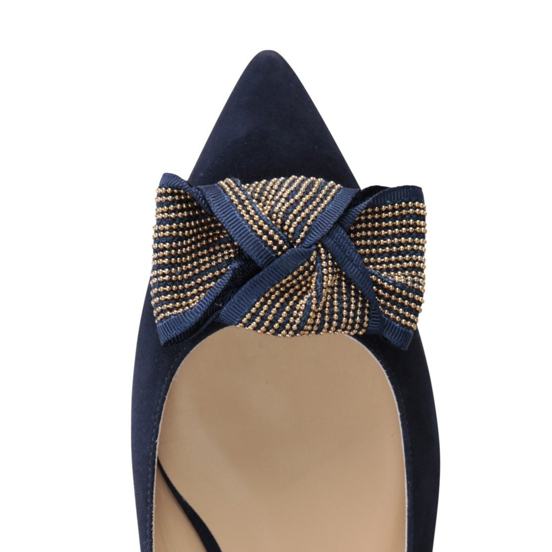 COMO - Velukid Midnight + Gold Stud Bow, VIAJIYU - Women's Hand Made Sustainable Luxury Shoes. Made in Italy. Made to Order.