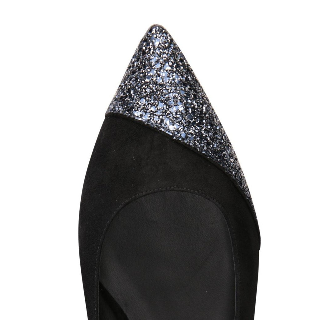 COMO - Velukid Nero + Asymmetrical Toe Glitter Midnight, VIAJIYU - Women's Hand Made Sustainable Luxury Shoes. Made in Italy. Made to Order.