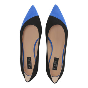 COMO - Velukid Nero + Asymmetrical Toe Cobalt, VIAJIYU - Women's Hand Made Sustainable Luxury Shoes. Made in Italy. Made to Order.