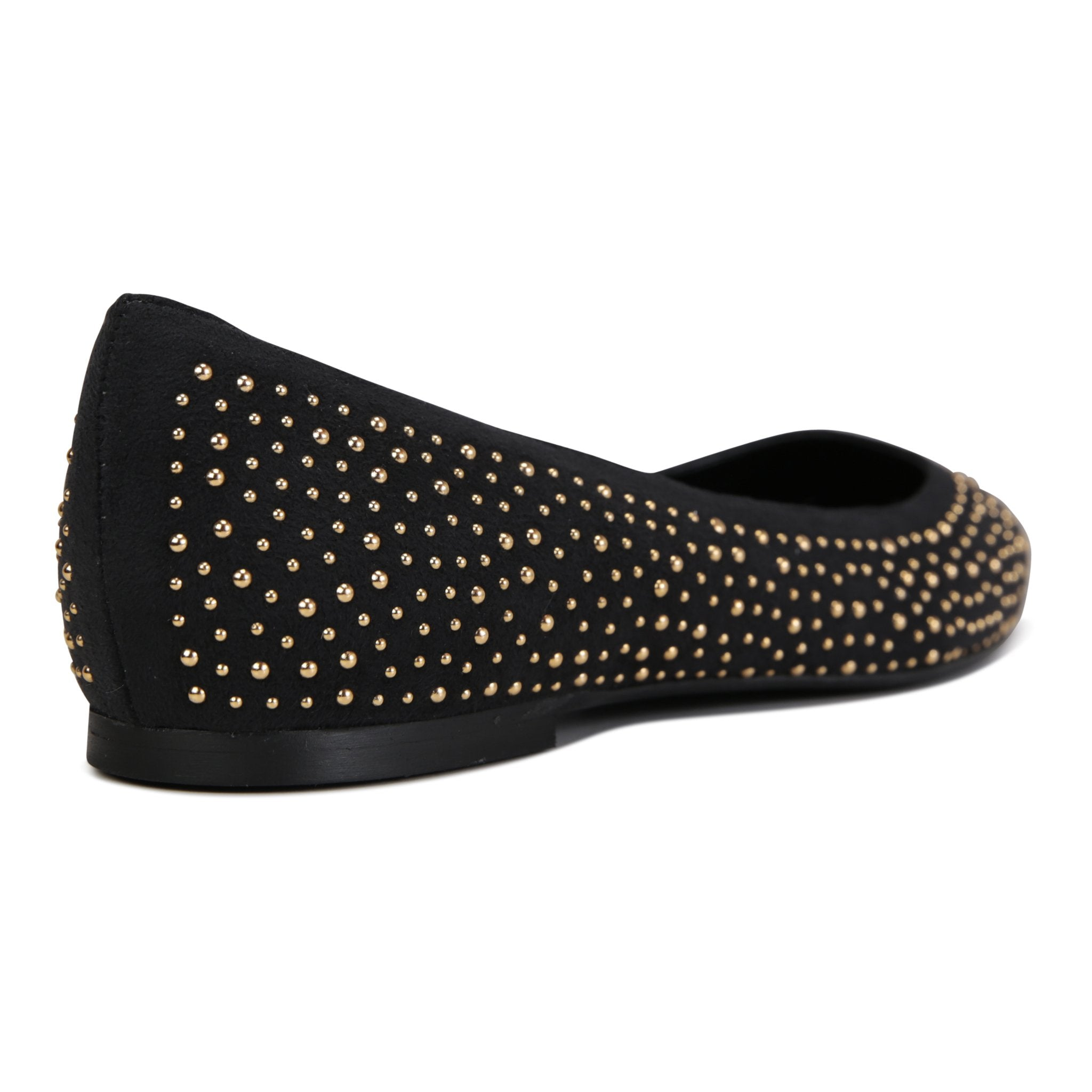 COMO - Velukid Nero + Tiny Gold Studs, VIAJIYU - Women's Hand Made Sustainable Luxury Shoes. Made in Italy. Made to Order.