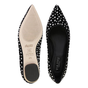 COMO - Velukid Nero + Big Silver Studs, VIAJIYU - Women's Hand Made Sustainable Luxury Shoes. Made in Italy. Made to Order.