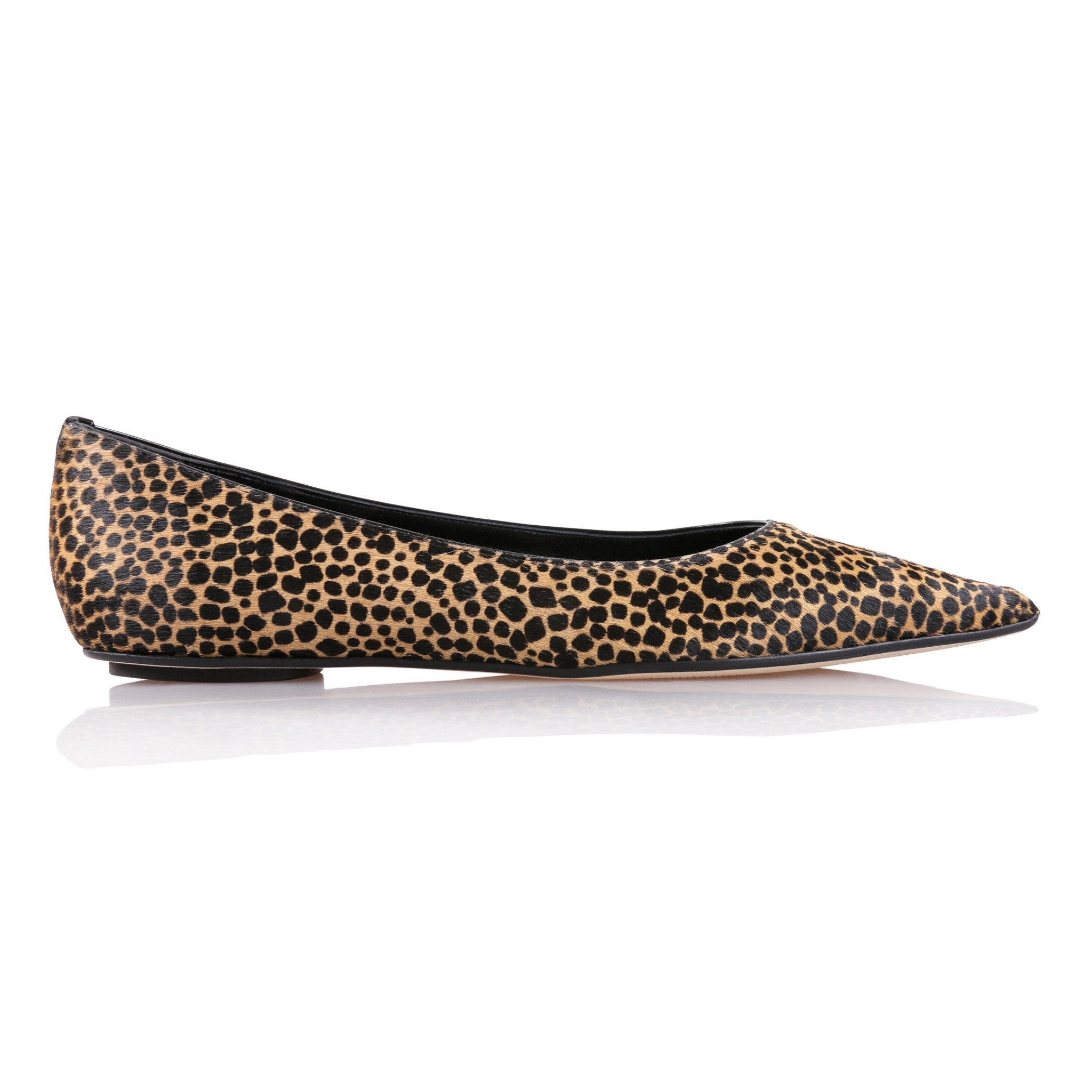 COMO - Calf Hair Orange Cheetah + Patent Nero, VIAJIYU - Women's Hand Made Sustainable Luxury Shoes. Made in Italy. Made to Order.