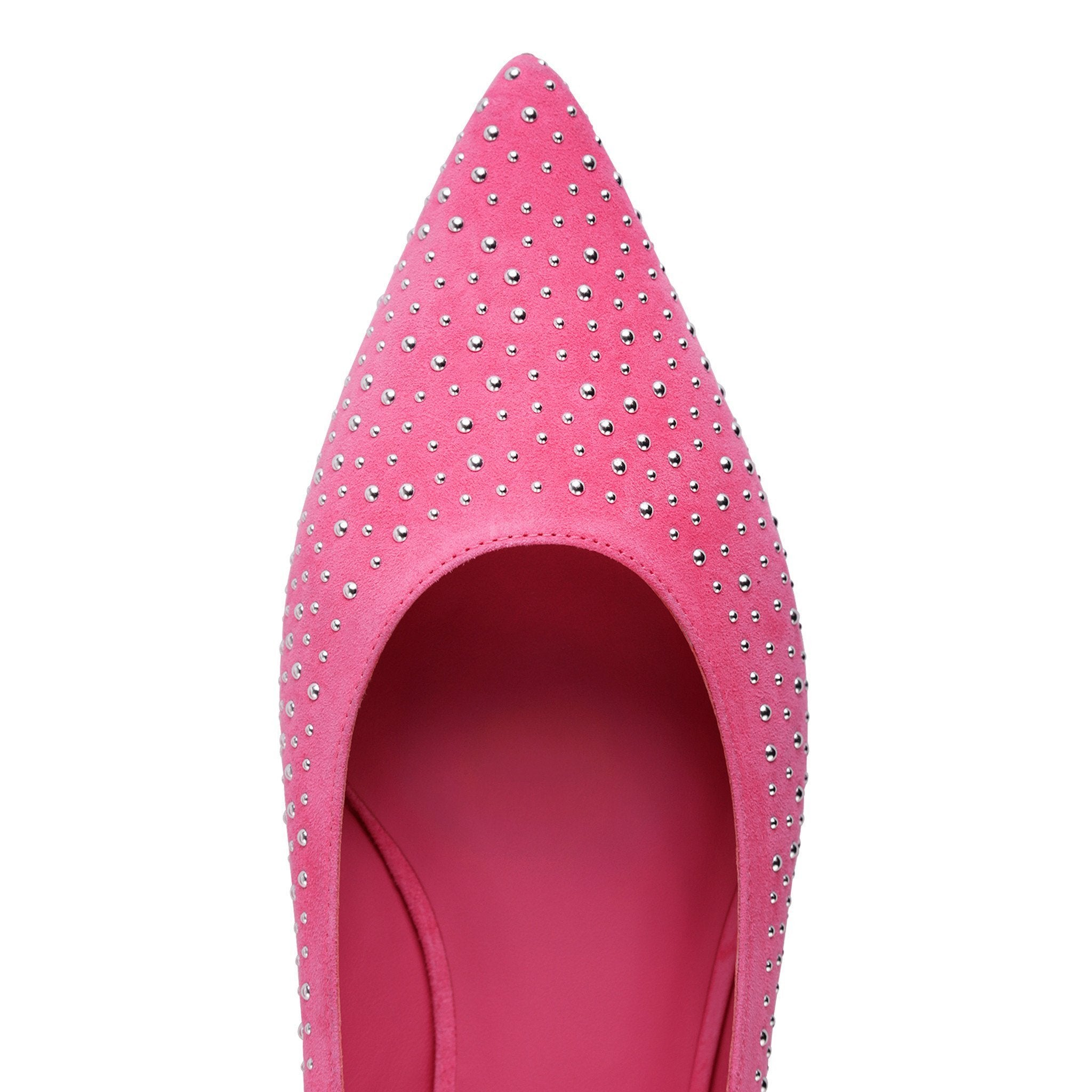 COMO - Velukid Epiphany Pink + Tiny Silver Studs, VIAJIYU - Women's Hand Made Sustainable Luxury Shoes. Made in Italy. Made to Order.