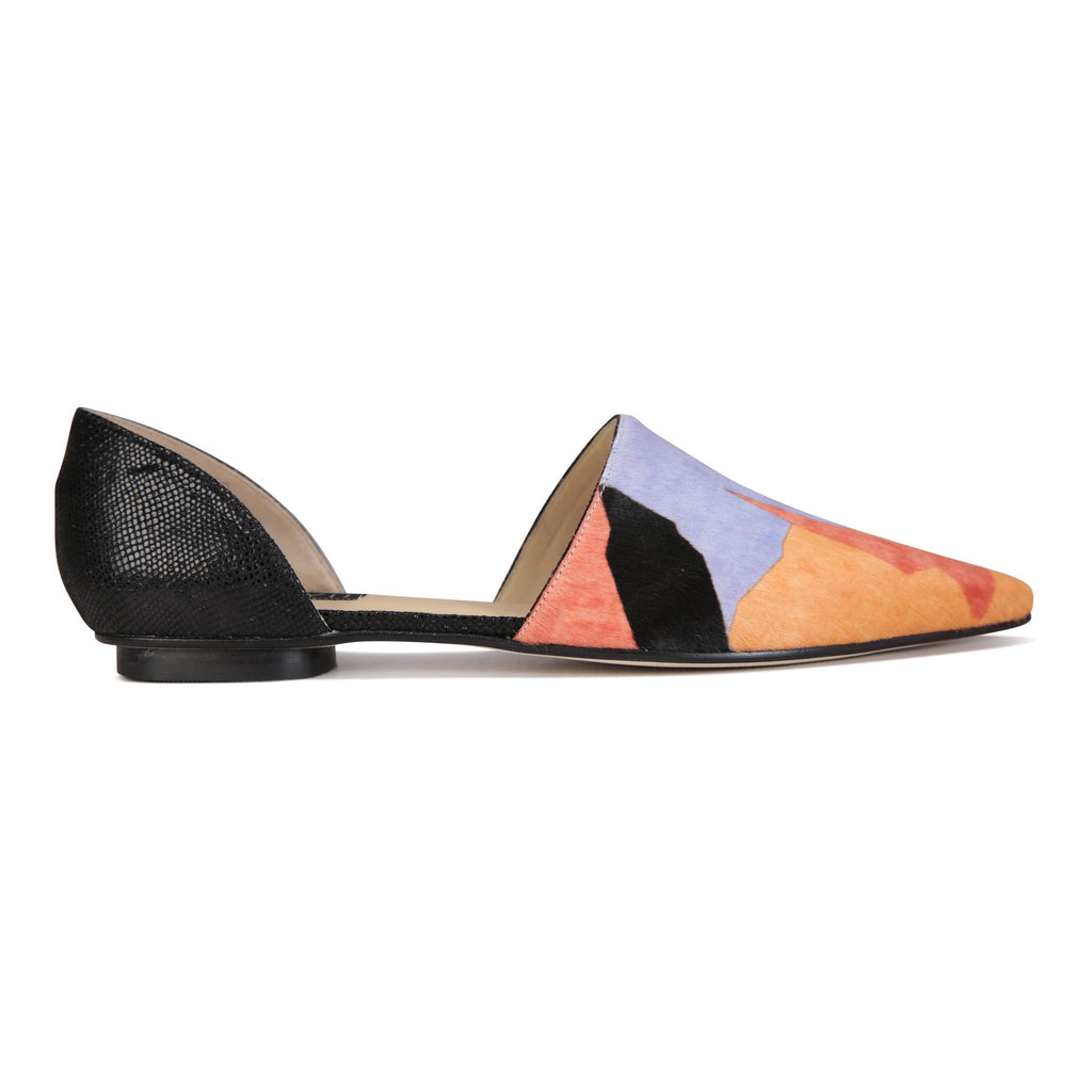 ELBA - Calf Hair Rio II + Karung Nero, VIAJIYU - Women's Hand Made Sustainable Luxury Shoes. Made in Italy. Made to Order.