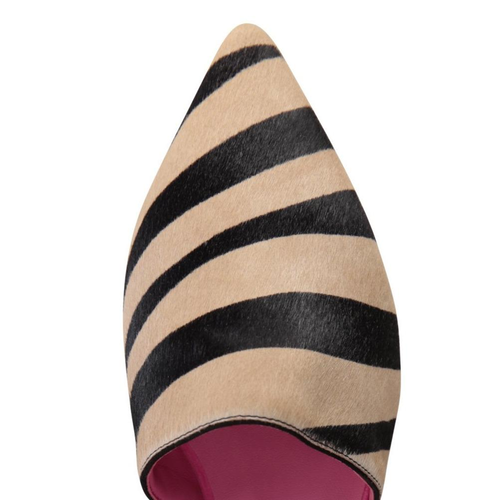 ELBA - Calf Hair Dune Zebra + Velukid Epiphany Pink, VIAJIYU - Women's Hand Made Sustainable Luxury Shoes. Made in Italy. Made to Order.