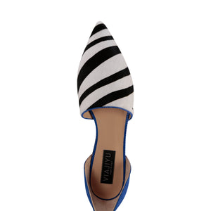 ELBA - Calf Hair Zebra + Karung Cobalt, VIAJIYU - Women's Hand Made Sustainable Luxury Shoes. Made in Italy. Made to Order.