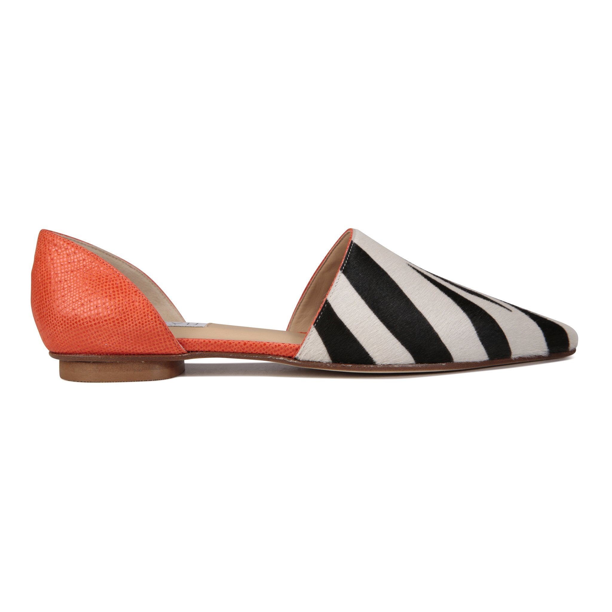 ELBA - Calf Hair Zebra + Karung Tuscan Sunset, VIAJIYU - Women's Hand Made Sustainable Luxury Shoes. Made in Italy. Made to Order.