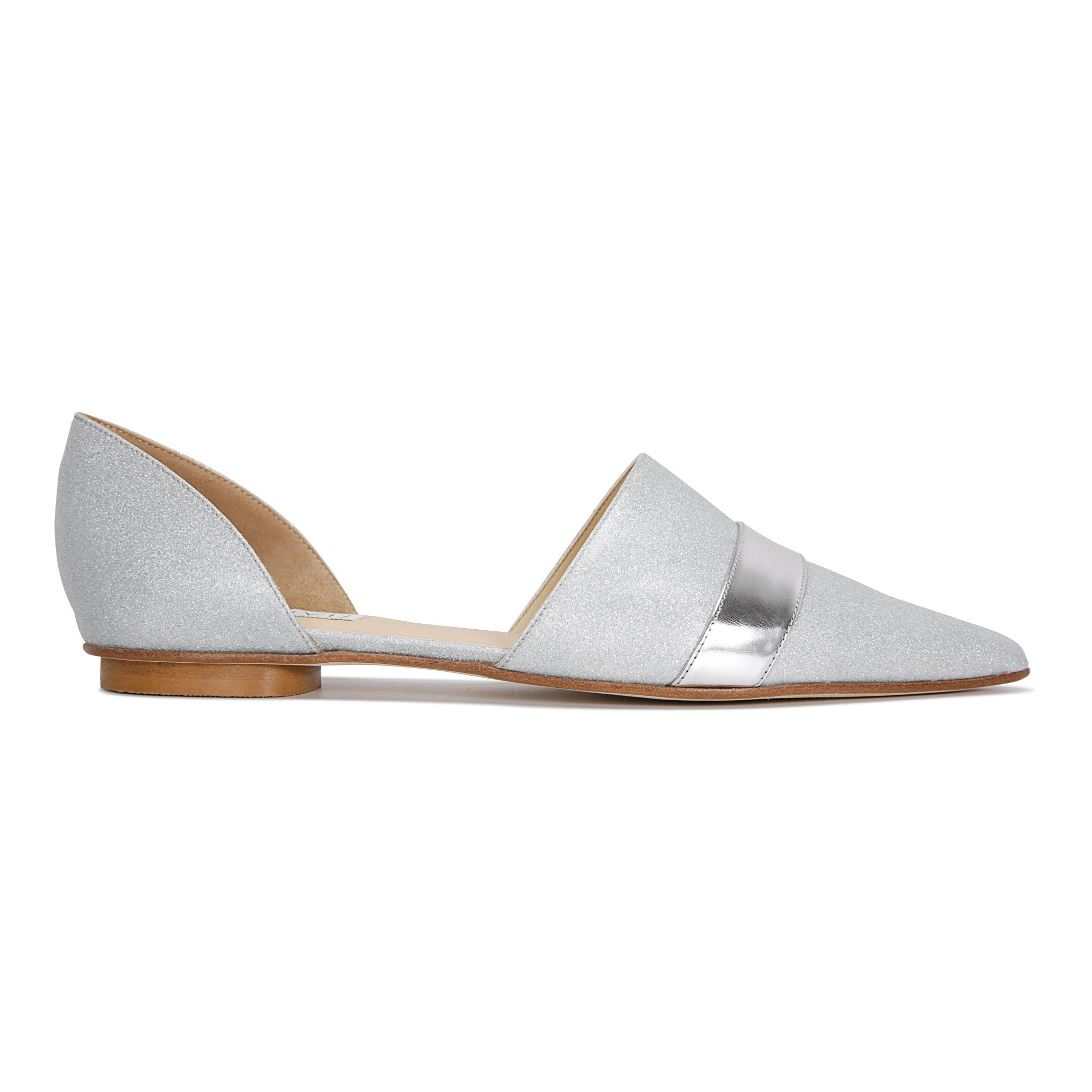 ELBA - Bright Argento + Metallic Argento Stripe, VIAJIYU - Women's Hand Made Sustainable Luxury Shoes. Made in Italy. Made to Order.
