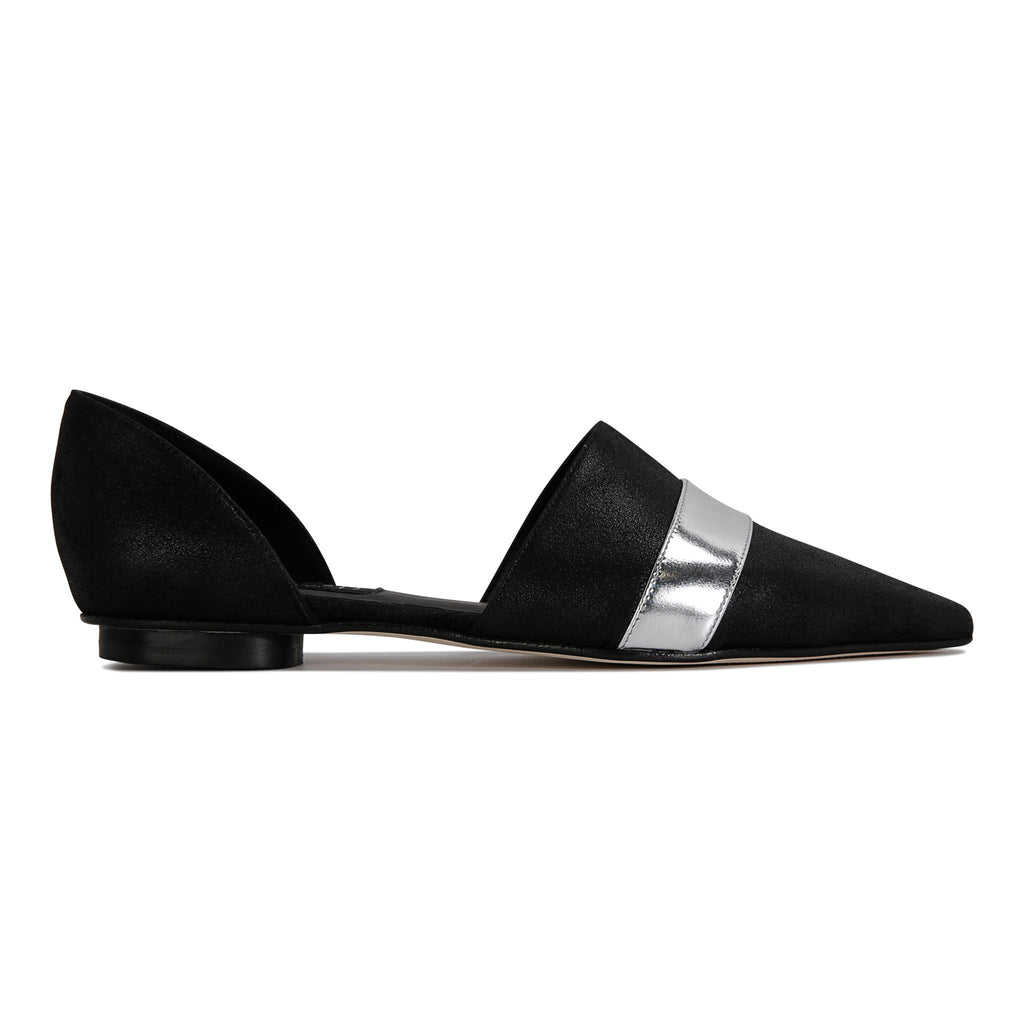 ELBA - Burma Nero + Metallic Argento Stripe, VIAJIYU - Women's Hand Made Sustainable Luxury Shoes. Made in Italy. Made to Order.