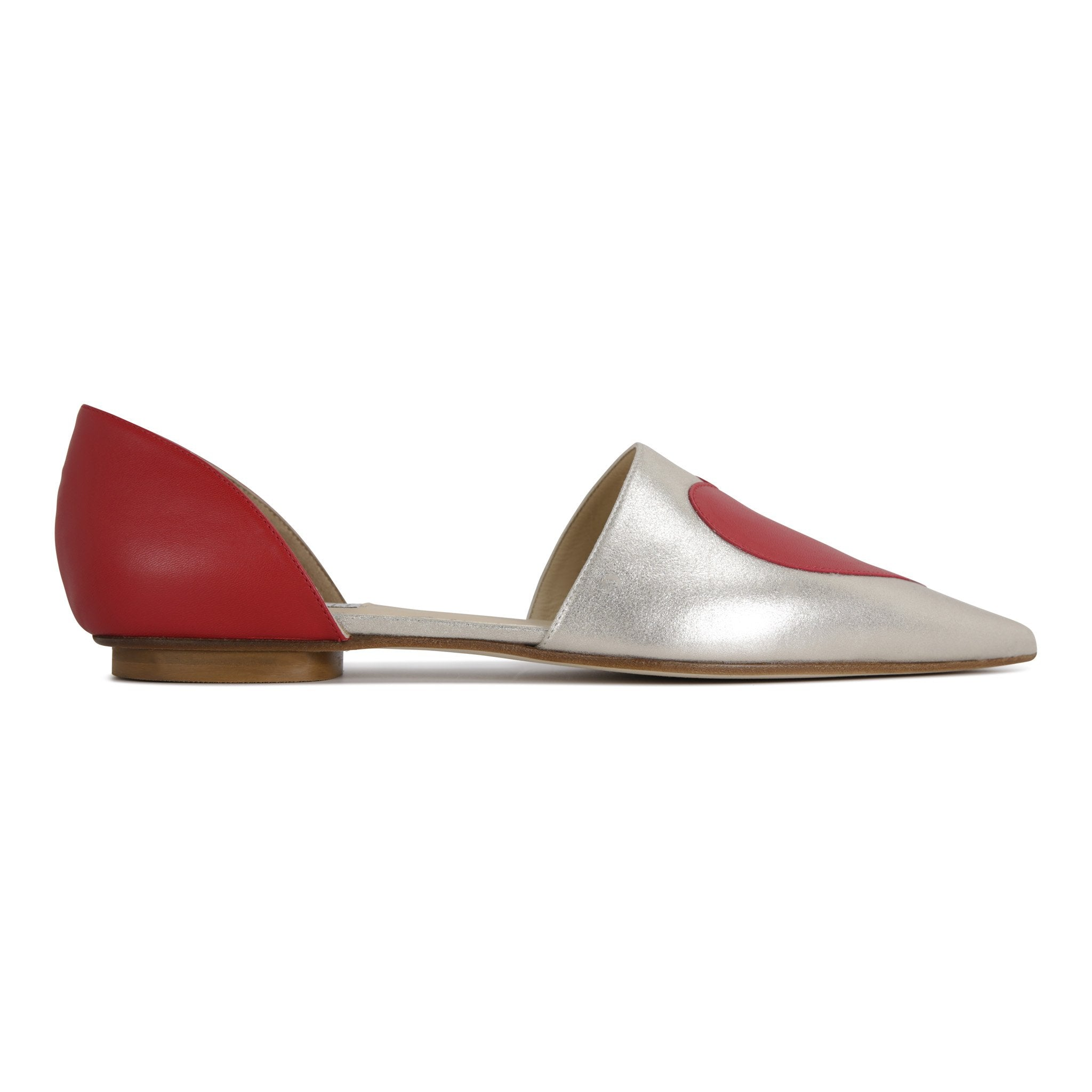 ELBA - Burma Platino + Red Heart, VIAJIYU - Women's Hand Made Sustainable Luxury Shoes. Made in Italy. Made to Order.
