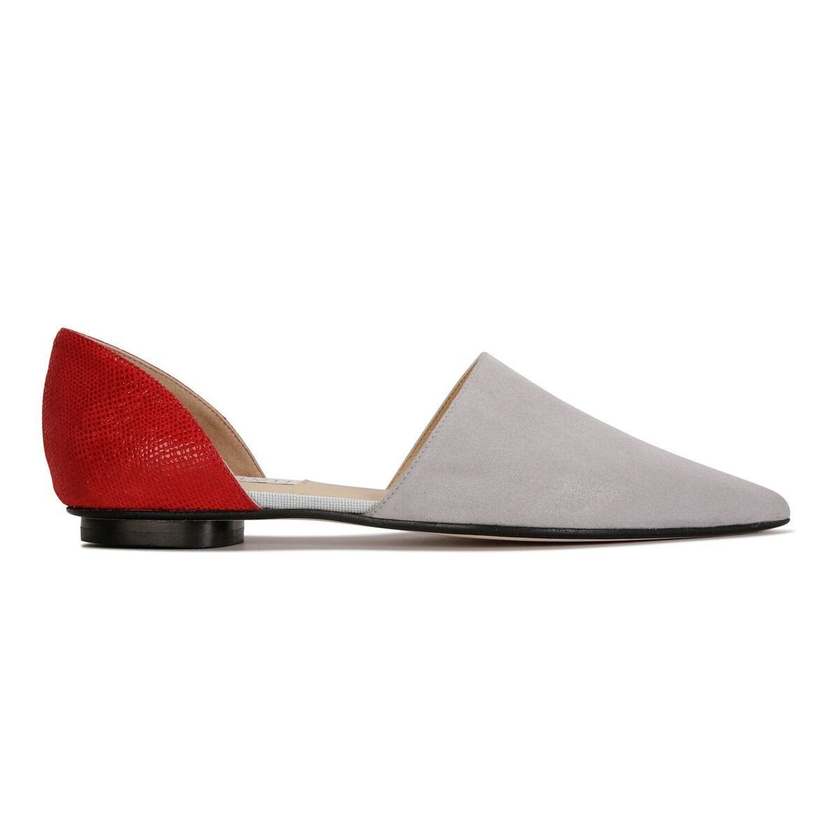 ELBA - Hydra Grigio + Karung Rosso, VIAJIYU - Women's Hand Made Sustainable Luxury Shoes. Made in Italy. Made to Order.