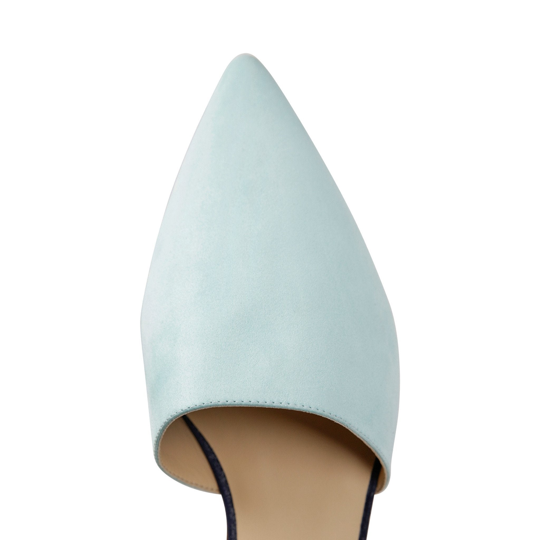 ELBA - Hydra Sky Mint + Midnight, VIAJIYU - Women's Hand Made Sustainable Luxury Shoes. Made in Italy. Made to Order.