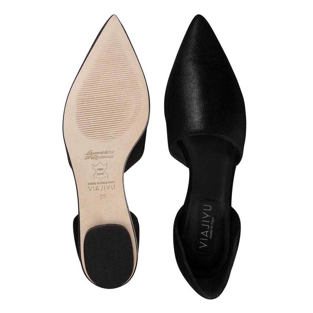 ELBA - Hydra Nero, VIAJIYU - Women's Hand Made Sustainable Luxury Shoes. Made in Italy. Made to Order.