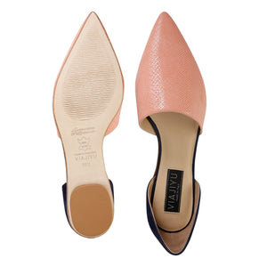 ELBA - Karung Rosy Cheeks + Hydra Midnight, VIAJIYU - Women's Hand Made Sustainable Luxury Shoes. Made in Italy. Made to Order.