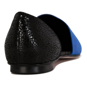 ELBA - Savannah Cobalt + Nero, VIAJIYU - Women's Hand Made Sustainable Luxury Shoes. Made in Italy. Made to Order.