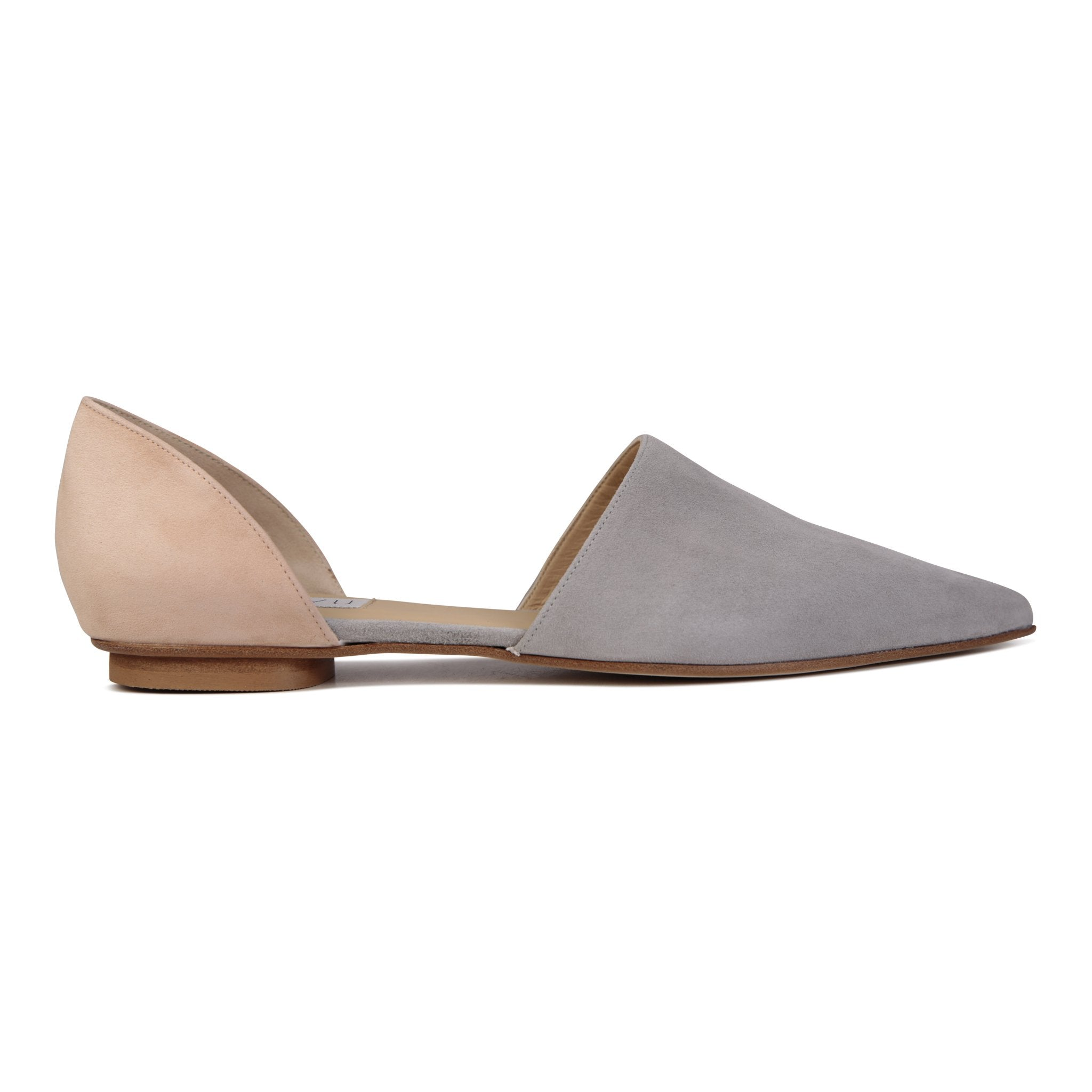 ELBA - Velukid Grigio + Sand, VIAJIYU - Women's Hand Made Sustainable Luxury Shoes. Made in Italy. Made to Order.