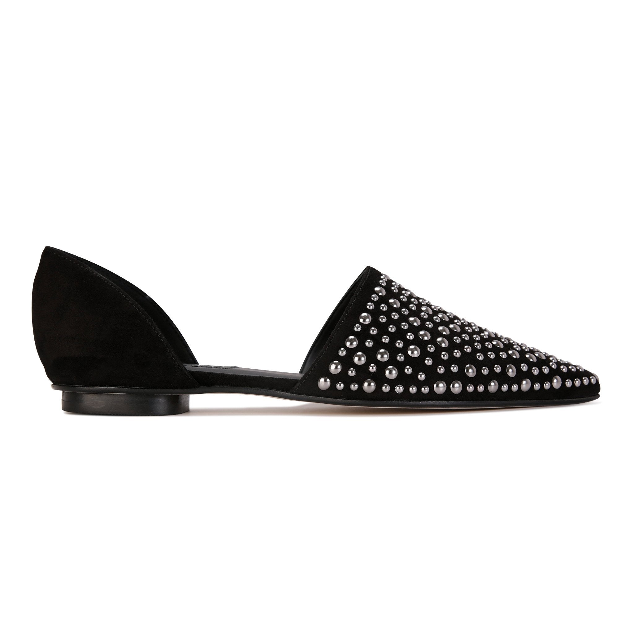 ELBA - Velukid Nero + Big Gunmetal Studs, VIAJIYU - Women's Hand Made Sustainable Luxury Shoes. Made in Italy. Made to Order.