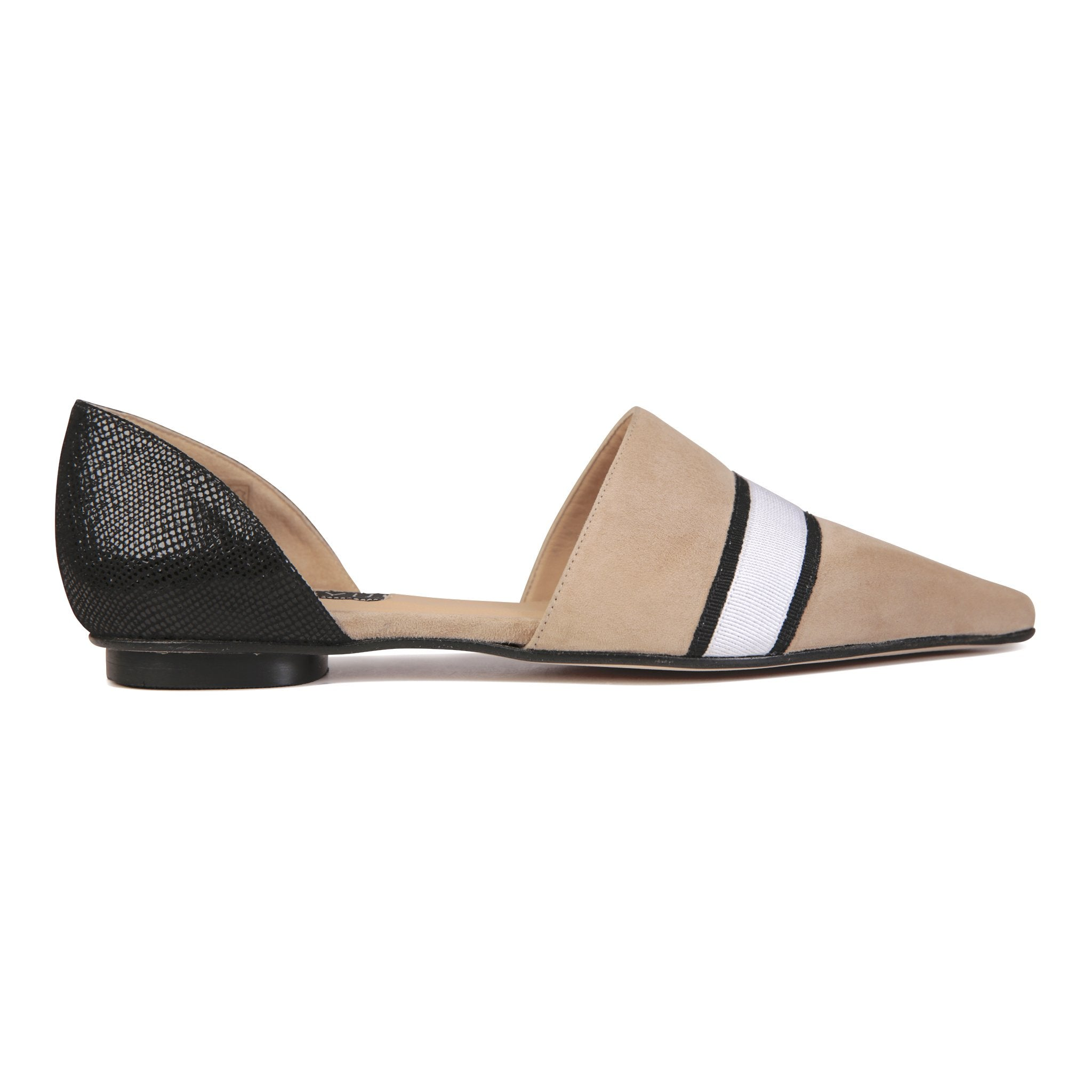 ELBA - Velukid Tan with Gros Stripes + Karung Nero, VIAJIYU - Women's Hand Made Sustainable Luxury Shoes. Made in Italy. Made to Order.