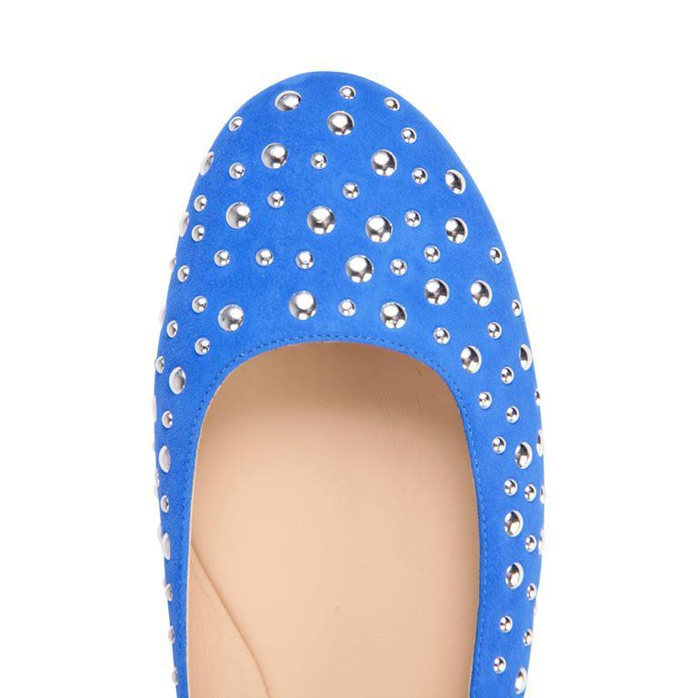 VENEZIA - Velukid Cobalt + Big Silver Studs, VIAJIYU - Women's Hand Made Sustainable Luxury Shoes. Made in Italy. Made to Order.