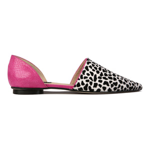ELBA - Calf Hair Dalmatian + Karung Epiphany Pink, VIAJIYU - Women's Hand Made Sustainable Luxury Shoes. Made in Italy. Made to Order.