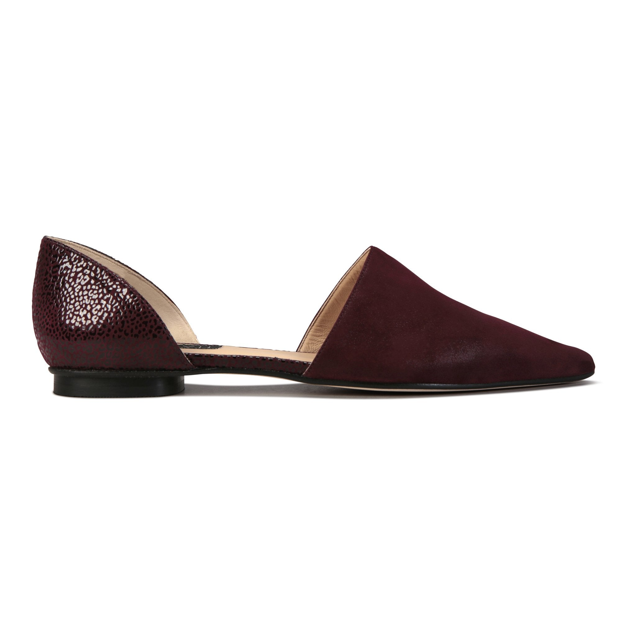 ELBA - Hydra Garnet + Savannah, VIAJIYU - Women's Hand Made Sustainable Luxury Shoes. Made in Italy. Made to Order.