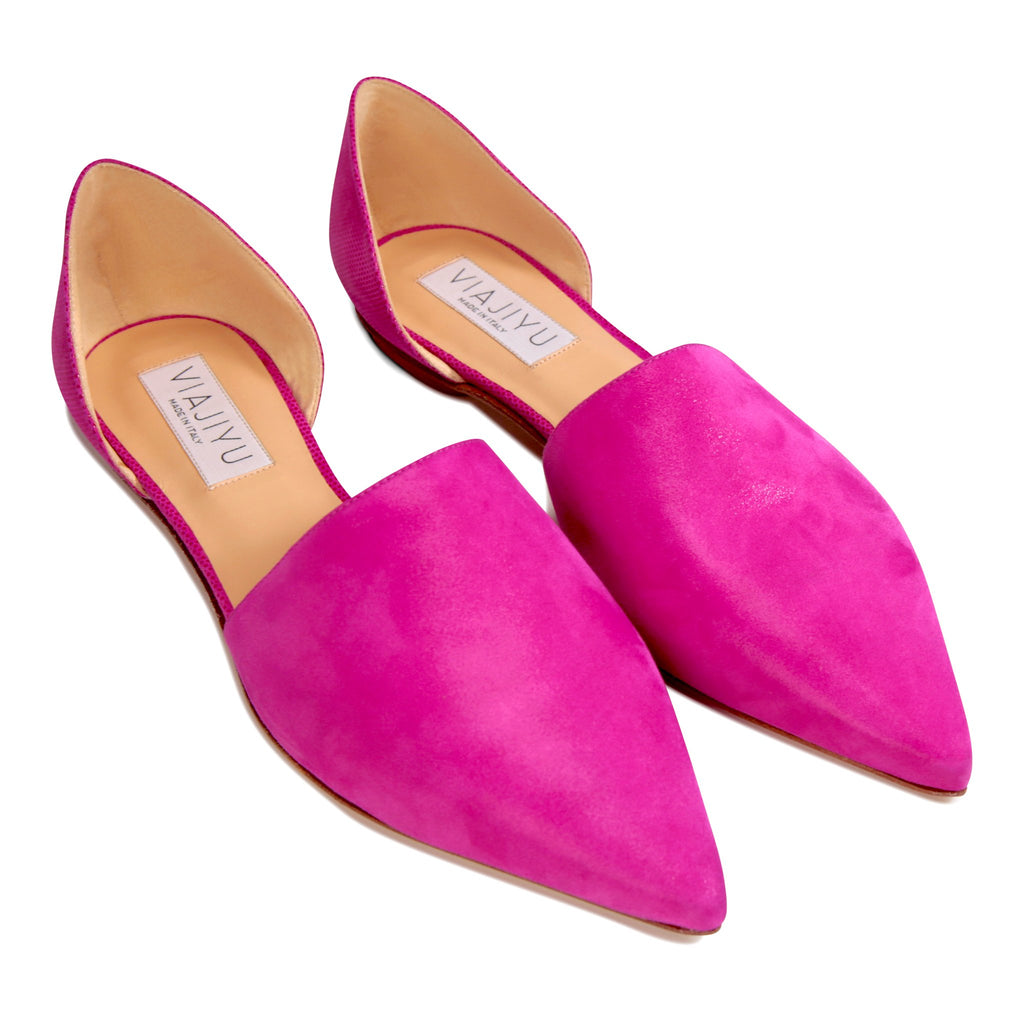 ELBA - Hydra Mulberry + Lady Mulberry, VIAJIYU - Women's Hand Made Sustainable Luxury Shoes. Made in Italy. Made to Order.