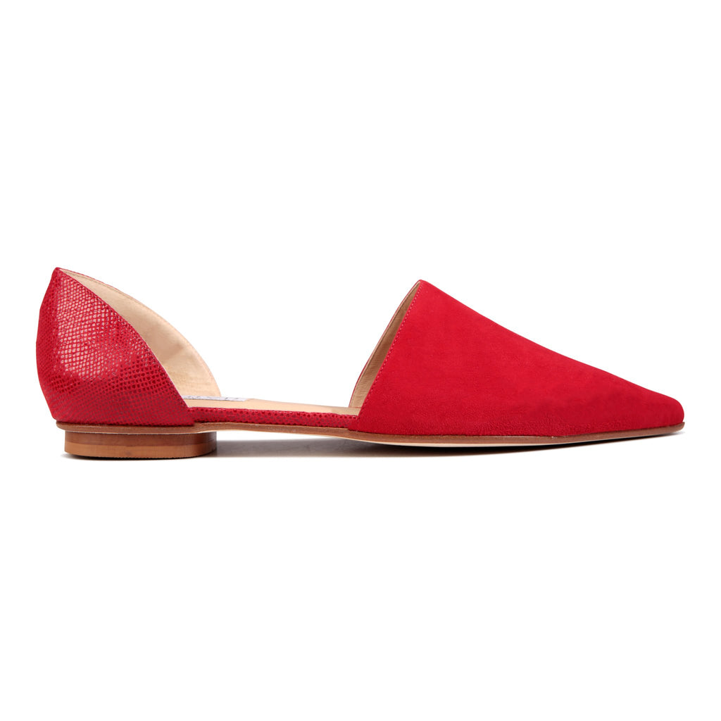 ELBA - Velukid Rosso + Karung, VIAJIYU - Women's Hand Made Sustainable Luxury Shoes. Made in Italy. Made to Order.