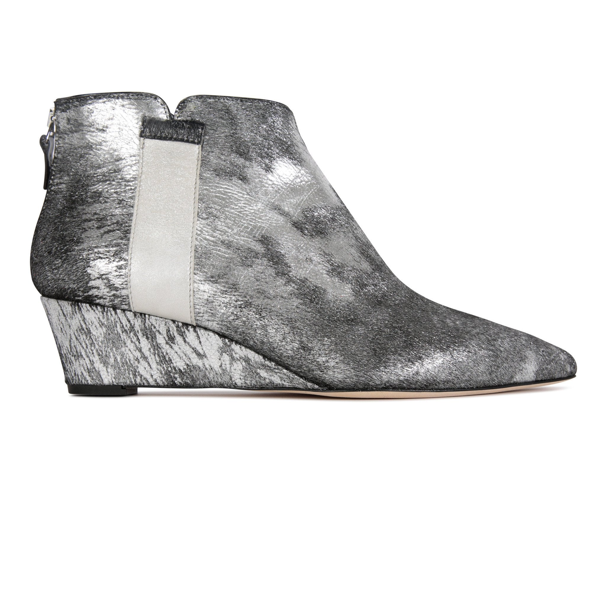 FORTE - Calf Hair Vintage Silver + Hydra Grigio, VIAJIYU - Women's Hand Made Sustainable Luxury Shoes. Made in Italy. Made to Order.