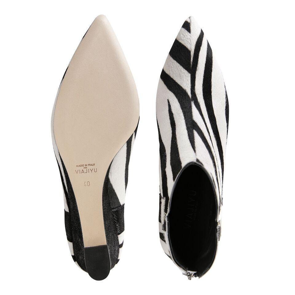FORTE - Calf Hair Zebra + Karung Nero, VIAJIYU - Women's Hand Made Sustainable Luxury Shoes. Made in Italy. Made to Order.