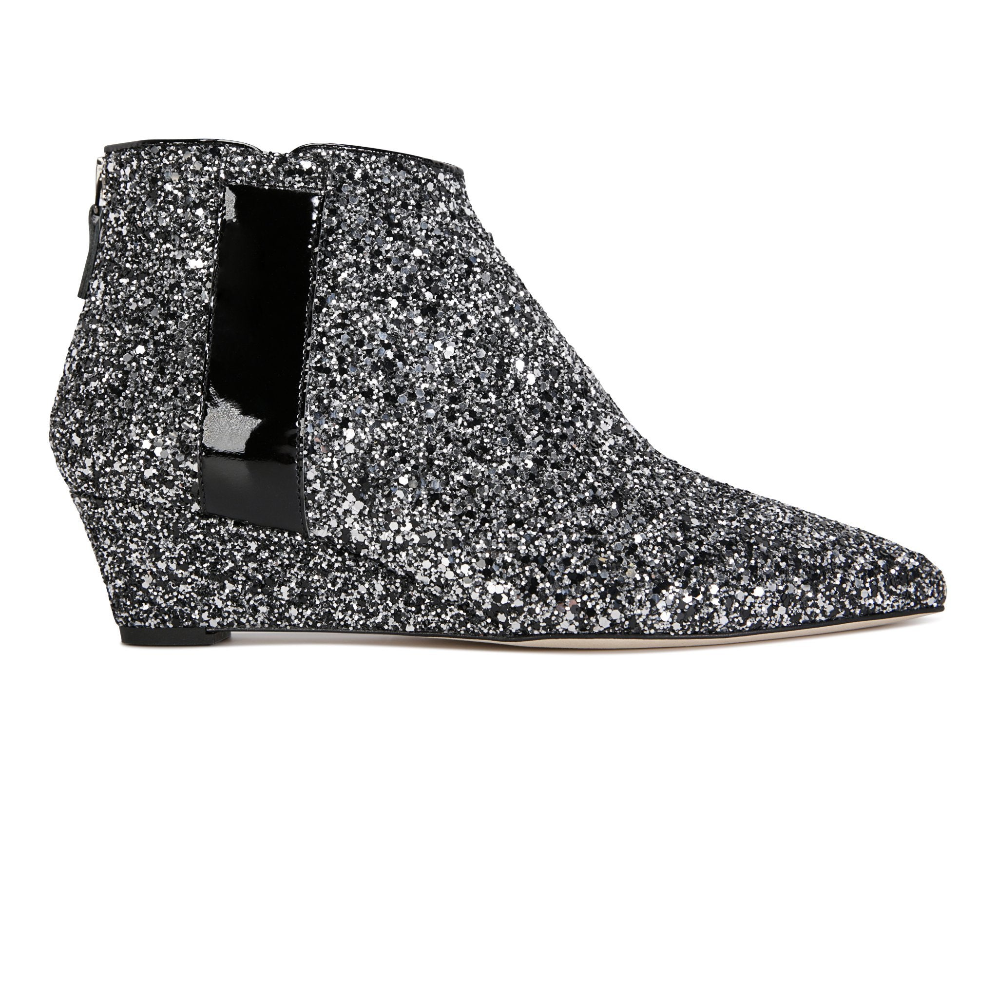 FORTE - Glitter Notte + Patent Nero, VIAJIYU - Women's Hand Made Sustainable Luxury Shoes. Made in Italy. Made to Order.