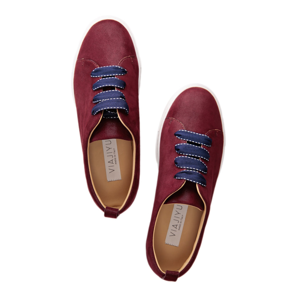 GROSSETO - Hydra Garnet, VIAJIYU - Women's Hand Made Sustainable Luxury Shoes. Made in Italy. Made to Order.