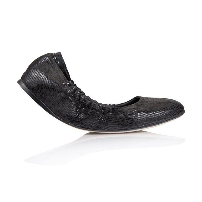 PORTOFINO - Varanus Nero, VIAJIYU - Women's Hand Made Sustainable Luxury Shoes. Made in Italy. Made to Order.