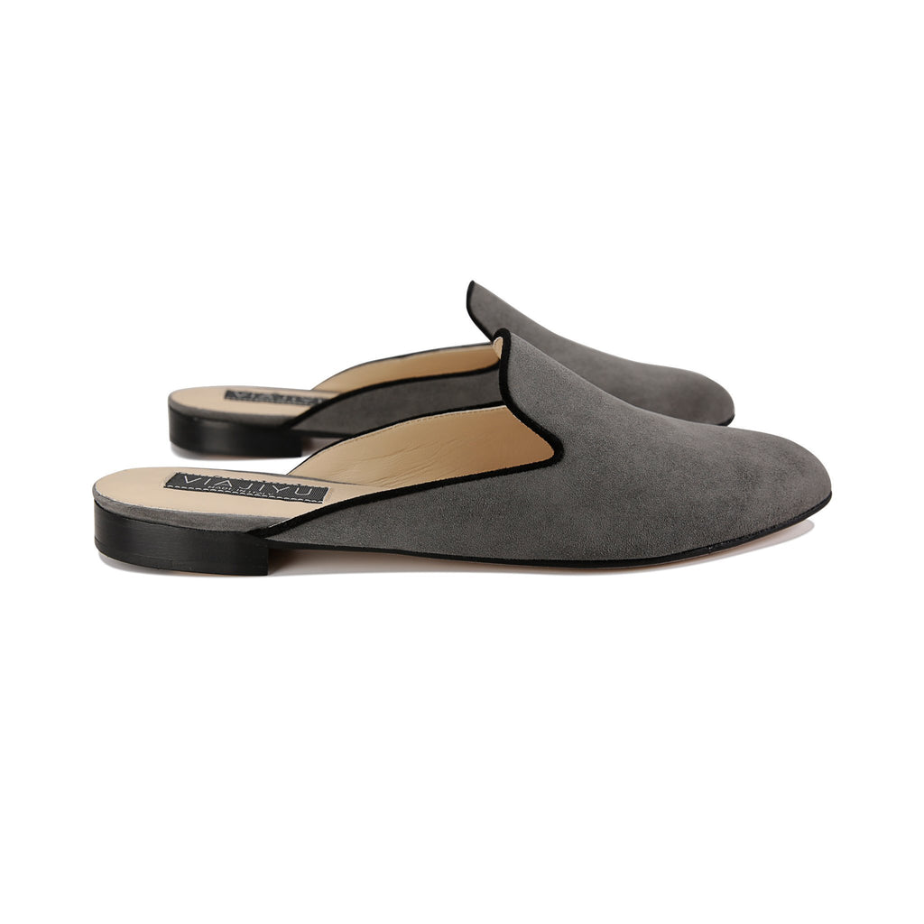 ISEO - Velukid Anthracite + Nero, VIAJIYU - Women's Hand Made Sustainable Luxury Shoes. Made in Italy. Made to Order.