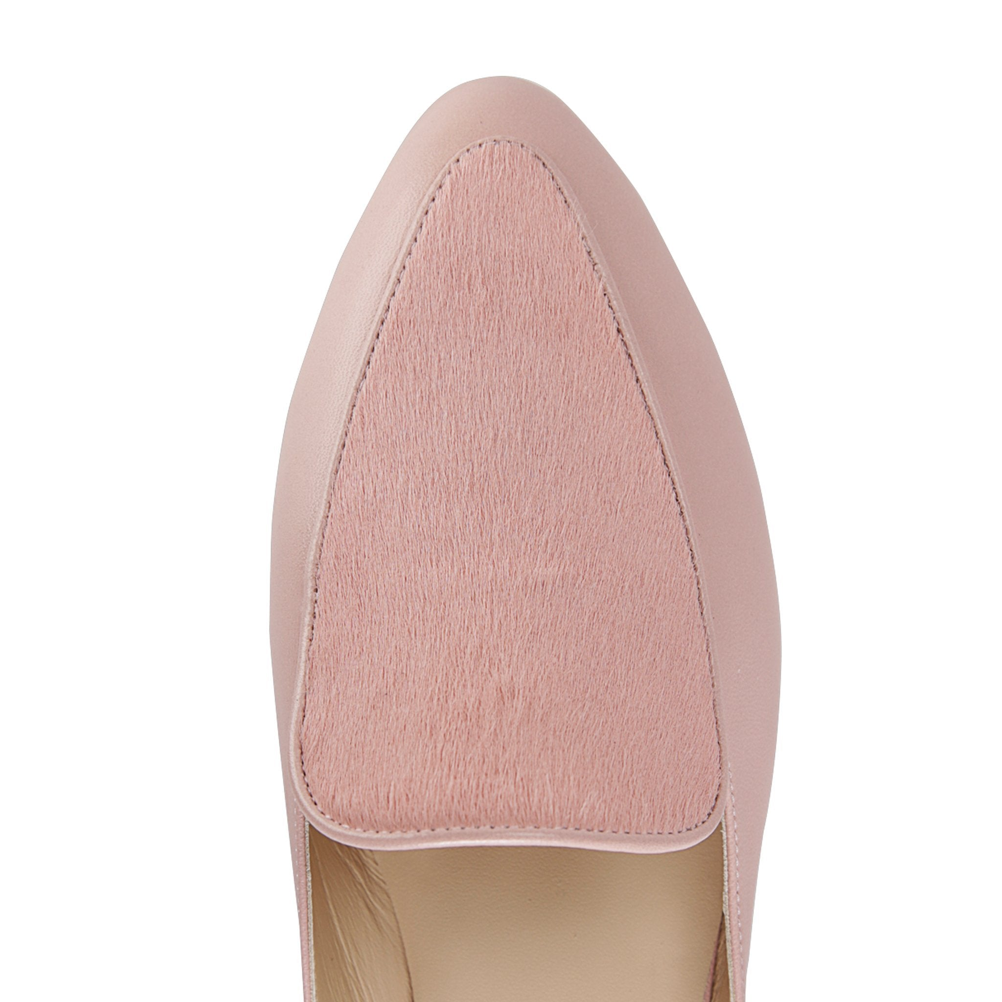ISEO - Nappa + Calf Hair Pink, VIAJIYU - Women's Hand Made Sustainable Luxury Shoes. Made in Italy. Made to Order.