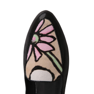 ISEO - Lady Nero + Calf Hair Fleur, VIAJIYU - Women's Hand Made Sustainable Luxury Shoes. Made in Italy. Made to Order.