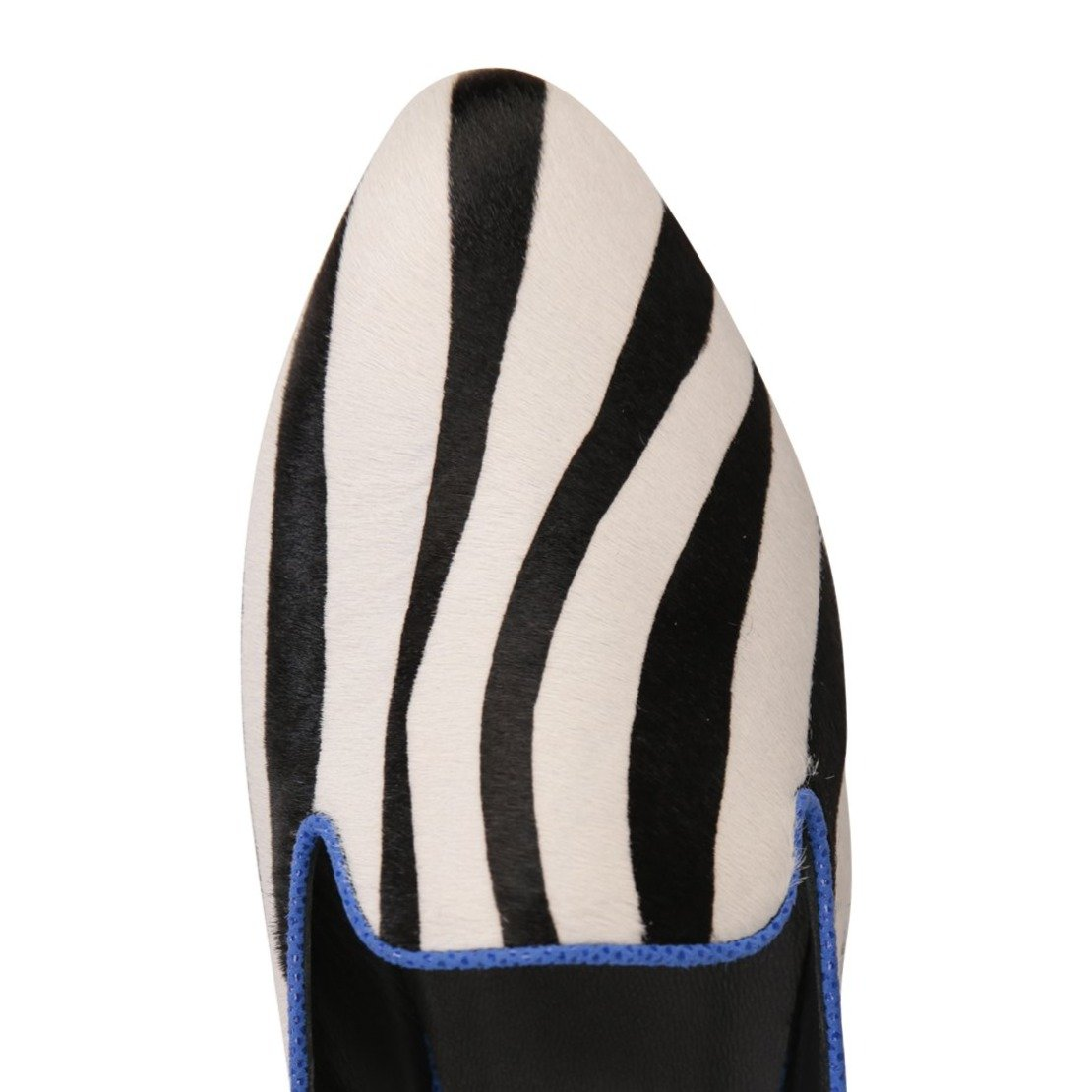ISEO - Calf Hair Zebra + Karung Cobalt, VIAJIYU - Women's Hand Made Sustainable Luxury Shoes. Made in Italy. Made to Order.