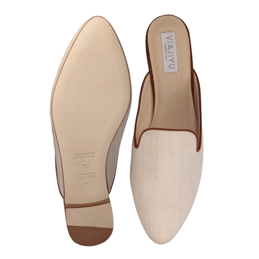 ISEO - Linen Natural, VIAJIYU - Women's Hand Made Sustainable Luxury Shoes. Made in Italy. Made to Order.