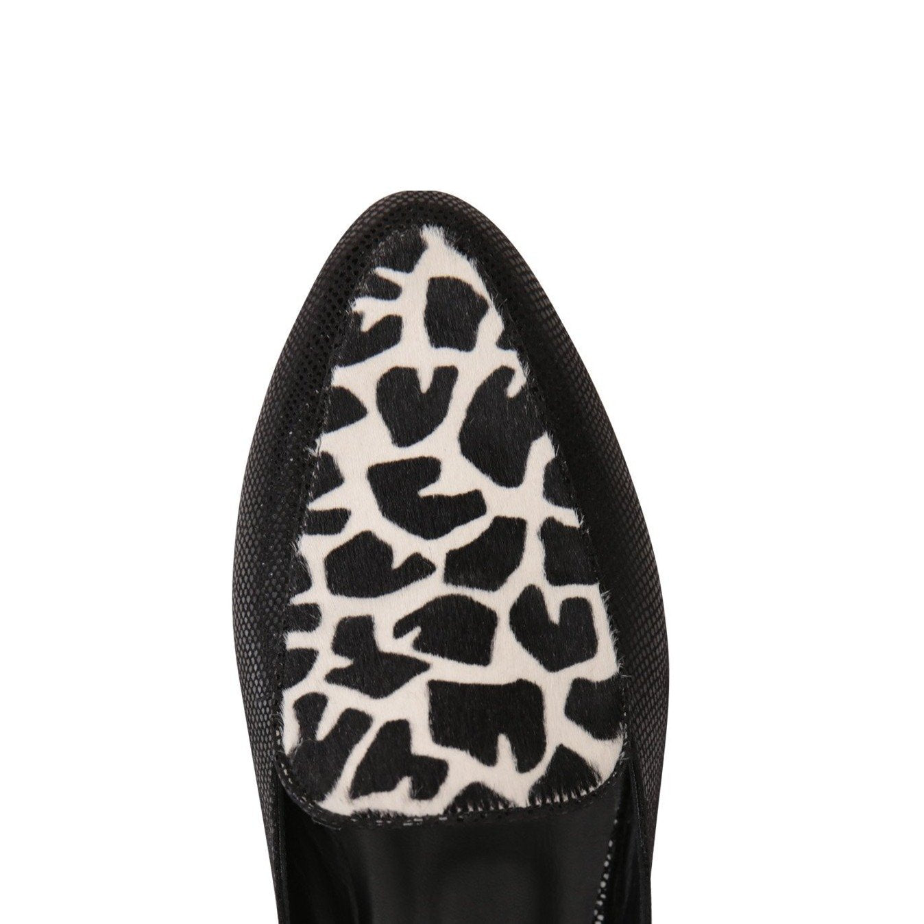 ISEO - Karung Nero + Calf Hair Ruanda, VIAJIYU - Women's Hand Made Sustainable Luxury Shoes. Made in Italy. Made to Order.