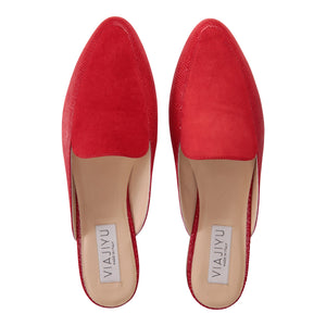 ISEO - Karung Rosso + Velukid, VIAJIYU - Women's Hand Made Sustainable Luxury Shoes. Made in Italy. Made to Order.