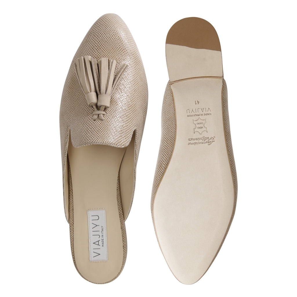 ISEO - Karung + Hydra Tan, VIAJIYU - Women's Hand Made Sustainable Luxury Shoes. Made in Italy. Made to Order.