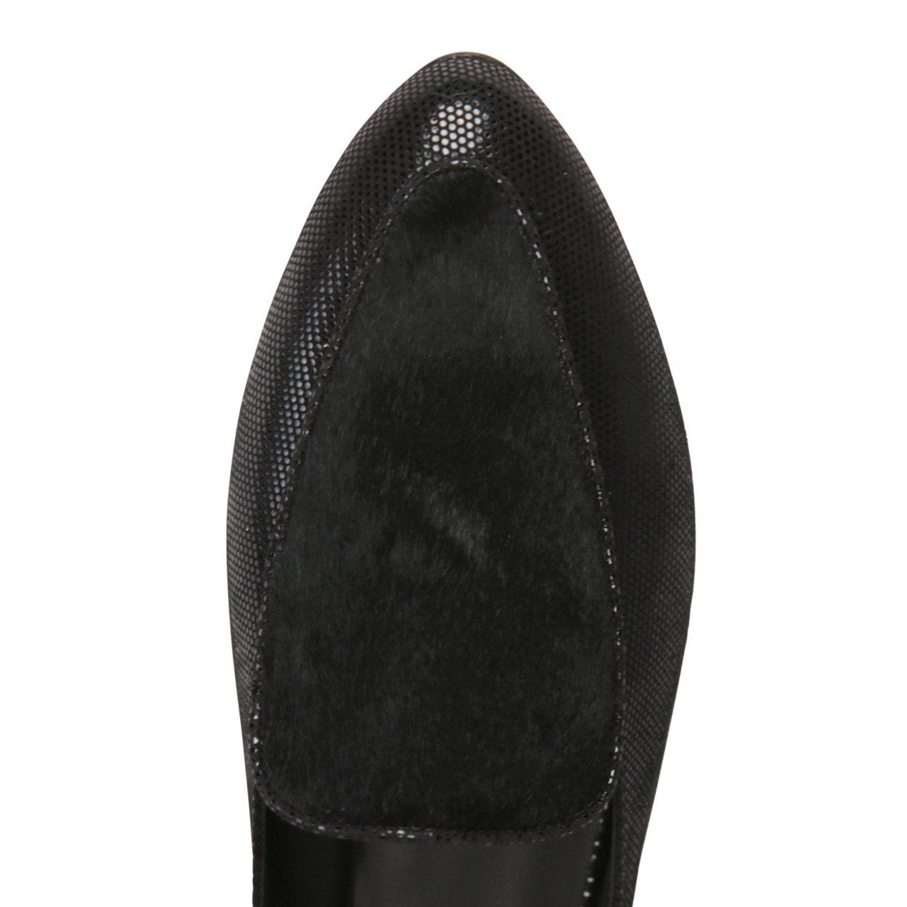 ISEO - Lady + Calf Hair Nero, VIAJIYU - Women's Hand Made Sustainable Luxury Shoes. Made in Italy. Made to Order.
