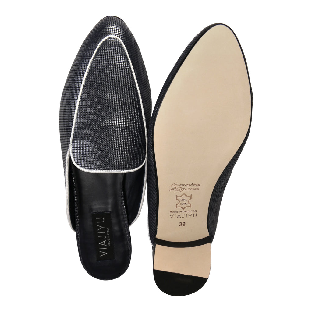 ISEO - Pixel Midnight + Bianco, VIAJIYU - Women's Hand Made Sustainable Luxury Shoes. Made in Italy. Made to Order.