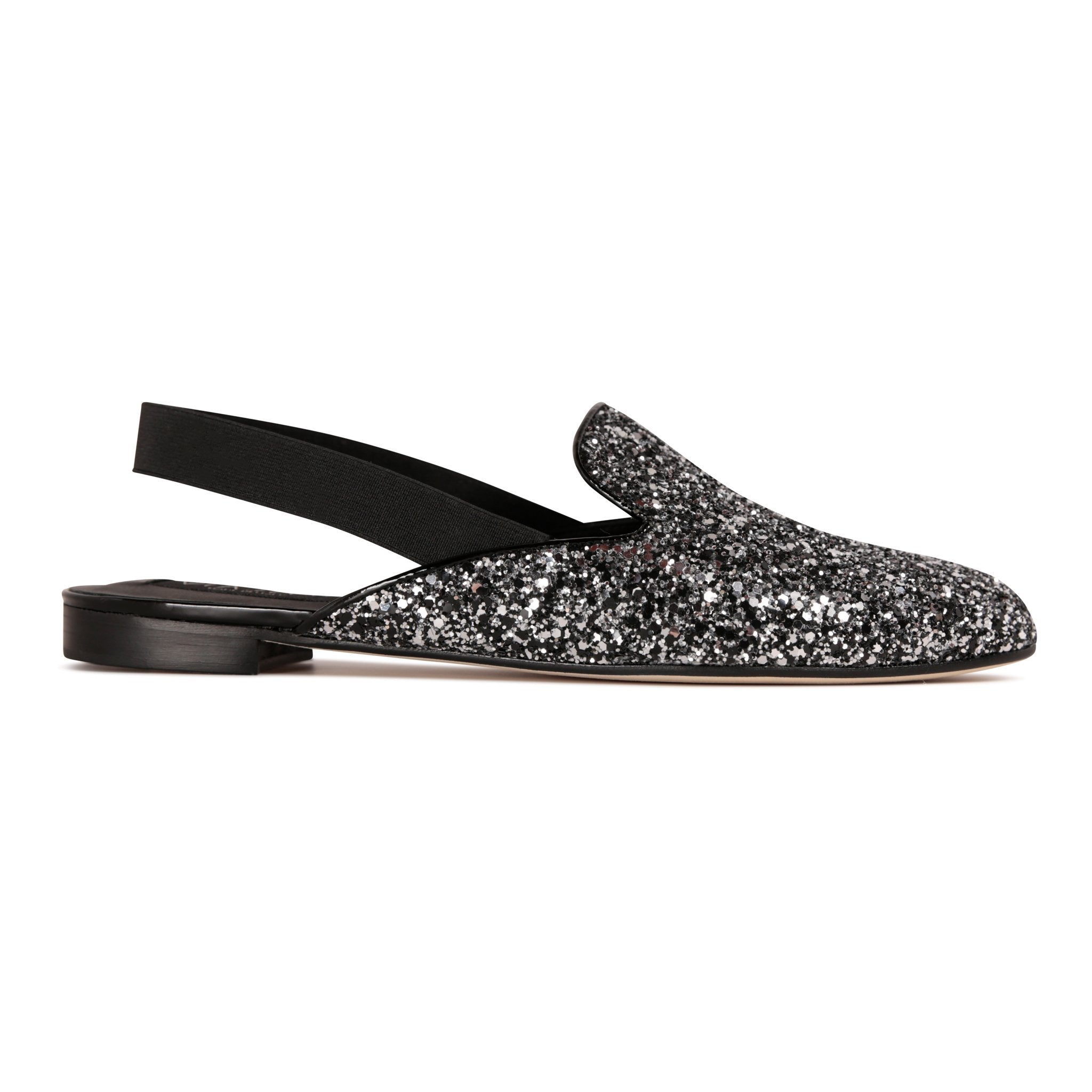 ISEO - Glitter Notte + Elastic, VIAJIYU - Women's Hand Made Sustainable Luxury Shoes. Made in Italy. Made to Order.