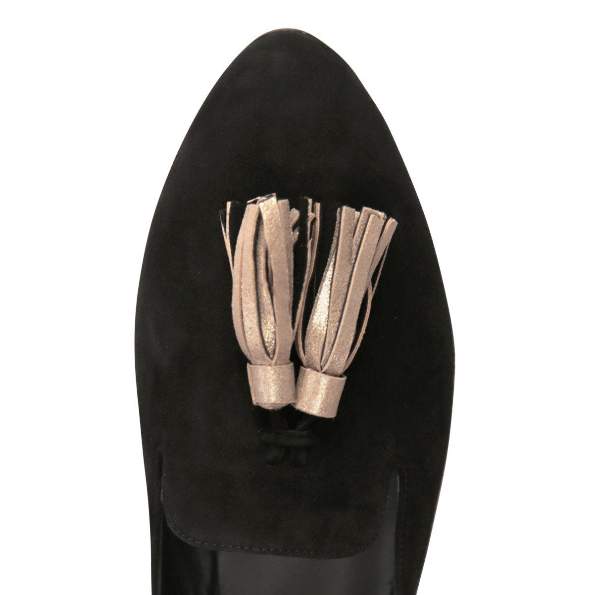 ISEO - Velukid Nero + Burma Sabbia Rosata Tassel, VIAJIYU - Women's Hand Made Sustainable Luxury Shoes. Made in Italy. Made to Order.