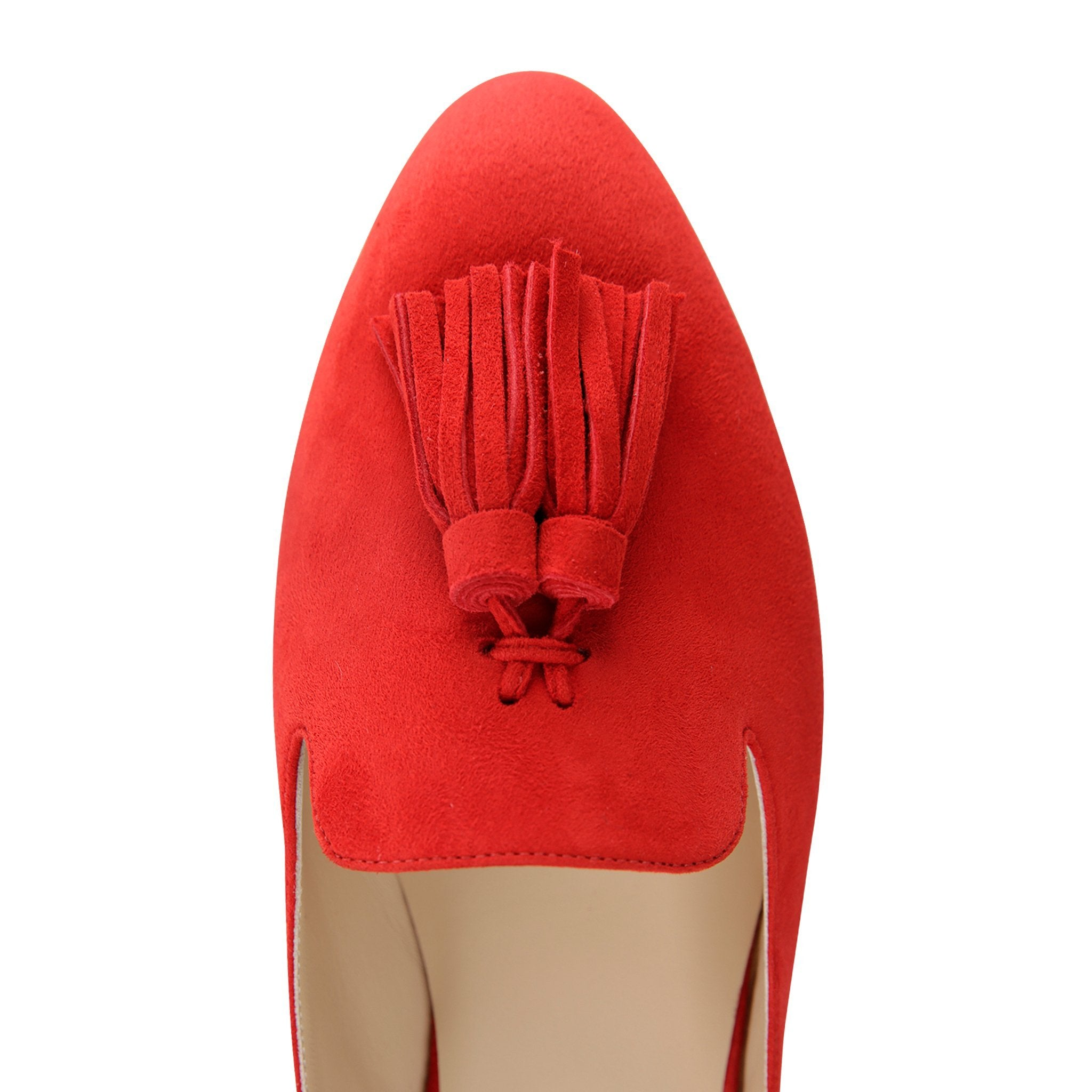 ISEO - Velukid Rosso + Tassel, VIAJIYU - Women's Hand Made Sustainable Luxury Shoes. Made in Italy. Made to Order.