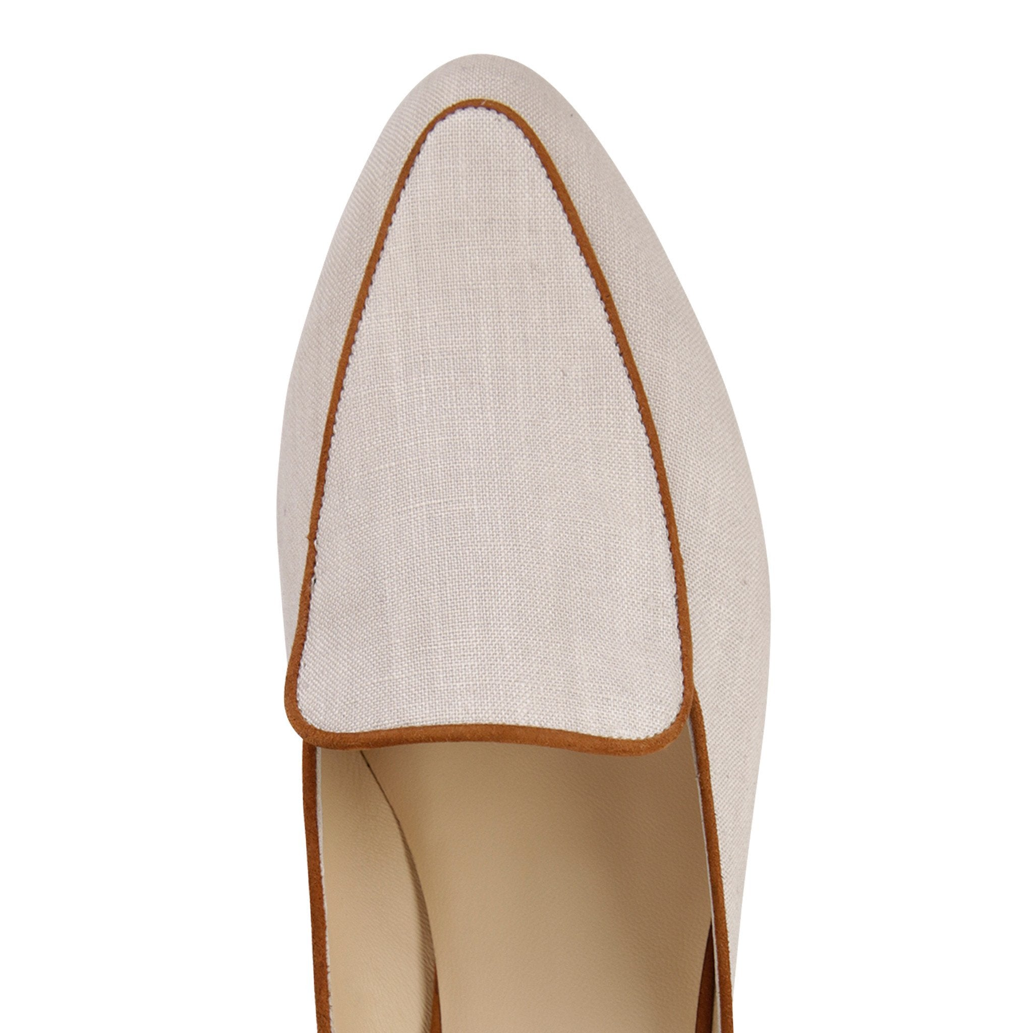 ISEO - Linen Natural + Velukid Dune, VIAJIYU - Women's Hand Made Sustainable Luxury Shoes. Made in Italy. Made to Order.